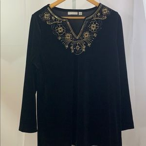 Susan Graver Tunic Black Velvet Beaded SZ L